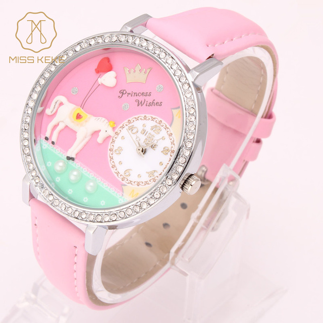 Miss Keke Brand Girls Kids Cartoon Watches Diamond 3D Clay Dress Watch Children Students Leather Wristwatches 1018 montre enfant