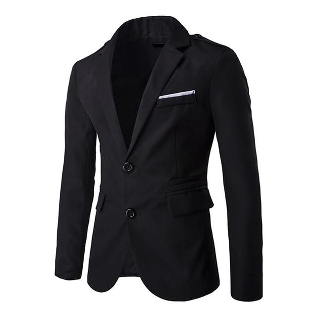 Men's Blazer Jacket Two Button Slim fit Blazer High quality Men Spring Solid Autumn Korean Style Mens Casual Blazers Black