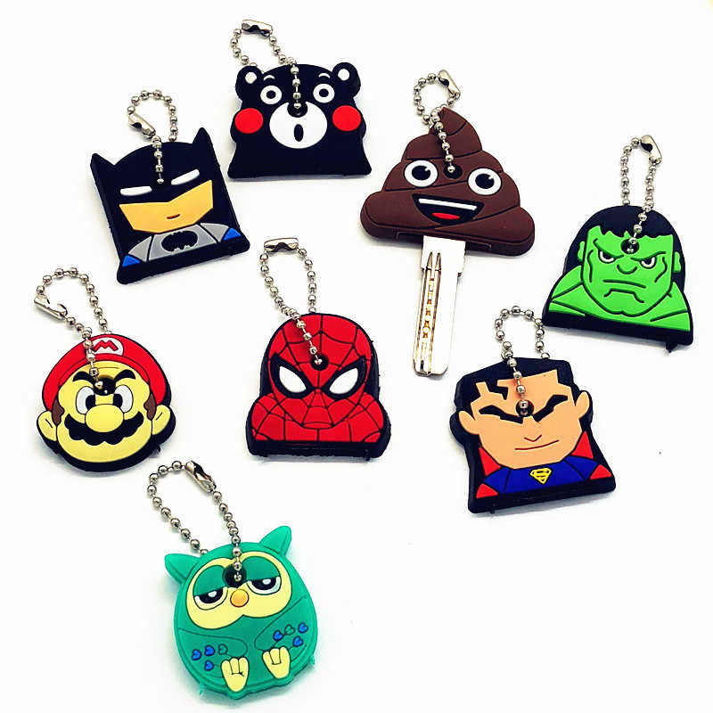 1Pcs Kawaii Dos Desenhos Animados The Avengers Chaveiro Silicone Para Mulheres/Homem Capa Spiderman Tampas Chave Chave Chave Anel Chave titular Chave do Presente cadeia