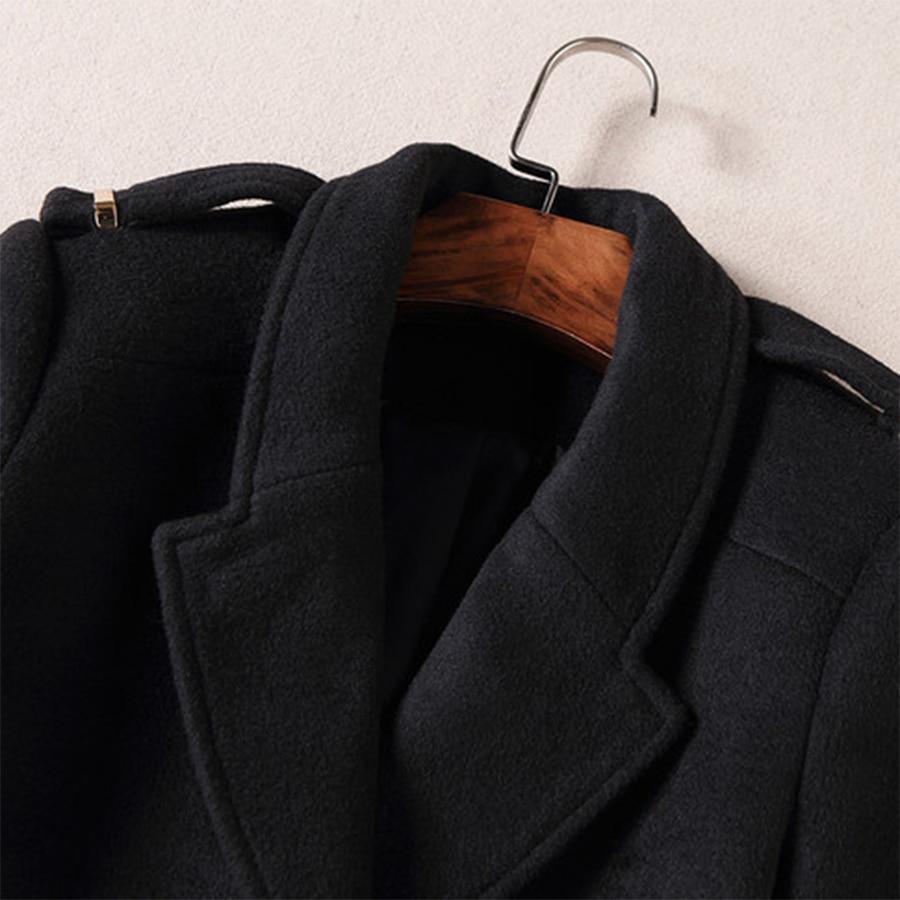 Long down Turn Noir Gamme Pleine Manteau Temparement Épaulette Casual De Collar Chaud ligne Haut Cachemire Femmes Manches D'hiver 2017 Nouveau A x6wRxfOq