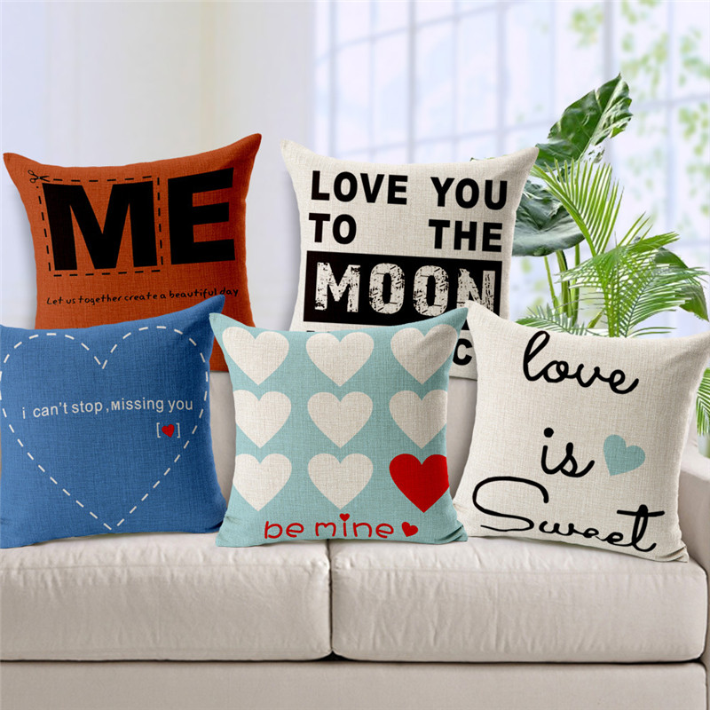New Design Love Is Sweet Love Your Mom Cushion Cover Simple Couverture Game  18 Inch Cotton Linen Office Chair Summer Cover Pillo In Cushion Cover From  Home ...