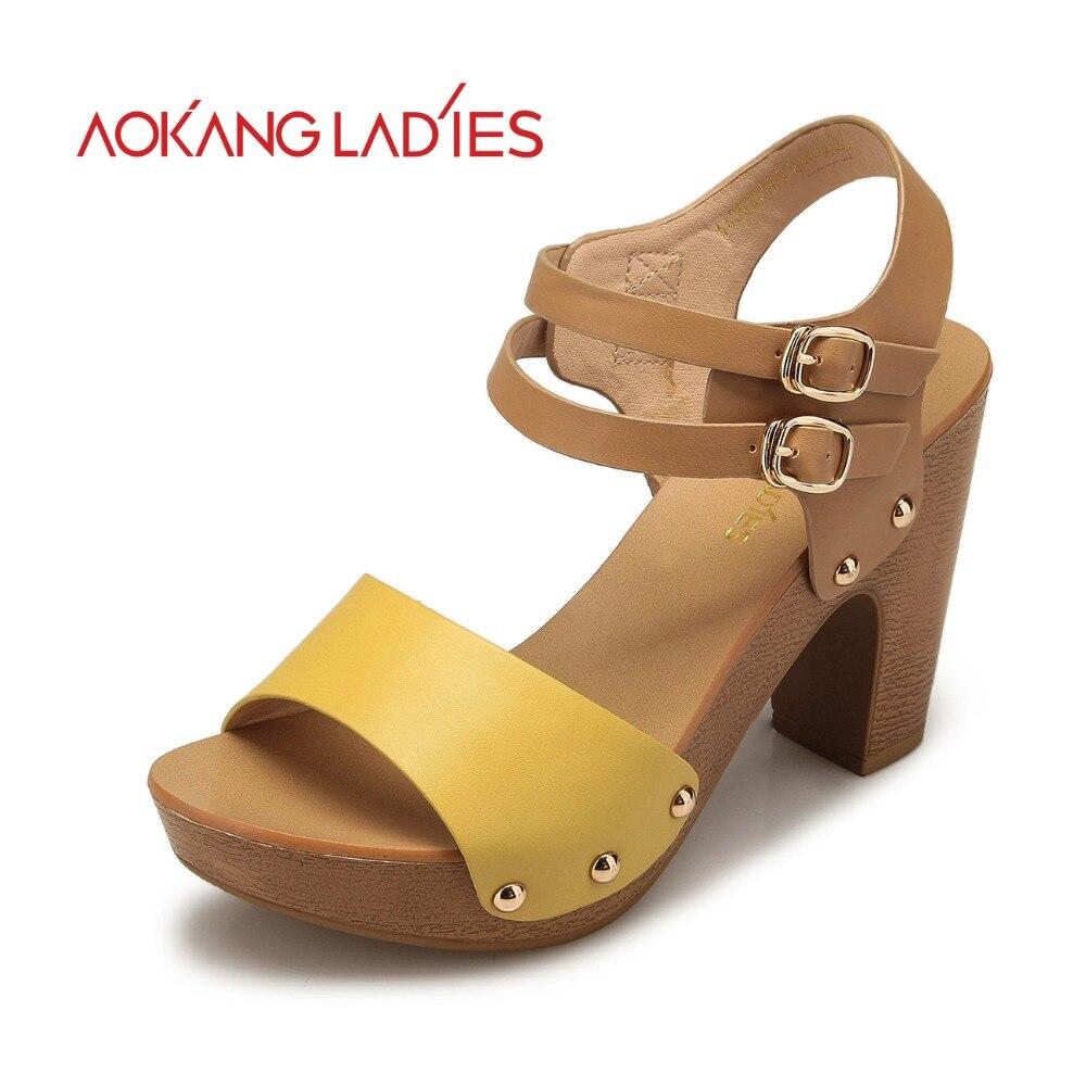 Aokang 2016 Spring New Arrival Women sandals High Heels ...
