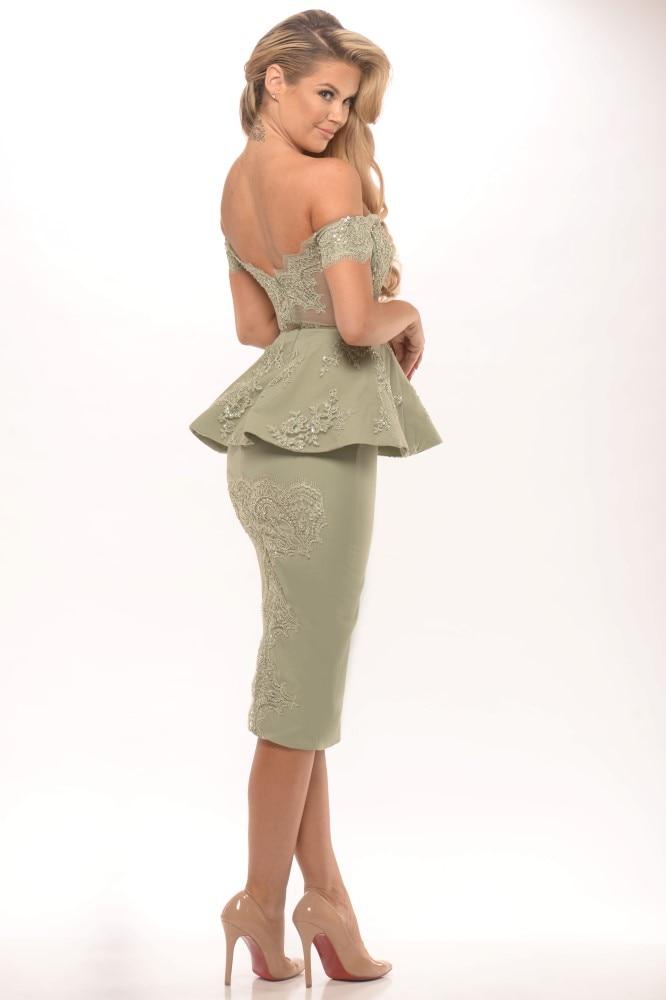 Vestido De Coquetel Short Formal Off the Shoulder Cocktail Dresses Knee Length Appliques Women Party Gown Robe De Cocktail SMD24