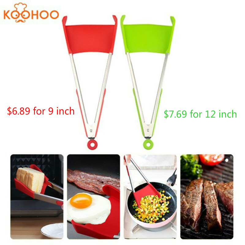 Clever Non-Stick Tongs 2-in-1 Kitchen Spatula&Tongs Heat Resistant  Stainless Steel Frame Kitchen Tongs