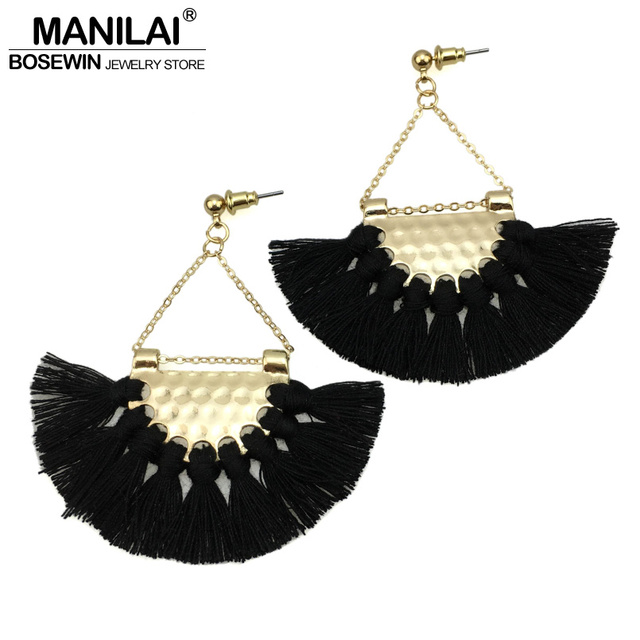 MANILAI T Show Bohemia Tassels Dangle Earrings Women Accessories Cotton Handmade Fringed Earrings Ethnic Jewelry Trendy Style