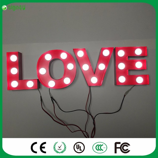 Red Metal Letters With Lights Marquee Letters Light Red 'love' Word Led Metal Sign Night Lamp