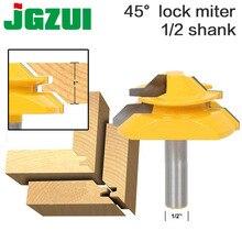 """Grote Lock Mijter Router Bit 45 Graden 1 """"Voorraad 1/2"""" Shank 12mm schacht  tenon Cutter voor Houtbewerking Tools RCT15293"""