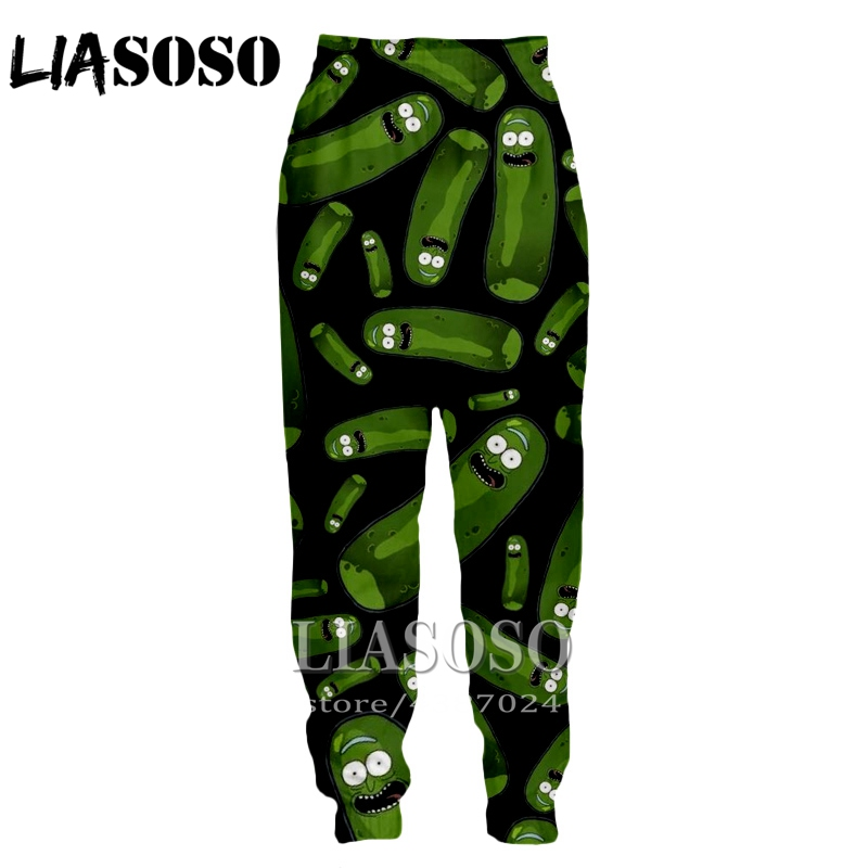 LIASOSO 3d Print Men Women Cartoon Full Length Sweatpants Animal Rick Morty Winter Pants Anime Pickle  Funny 2019 Trousers E244