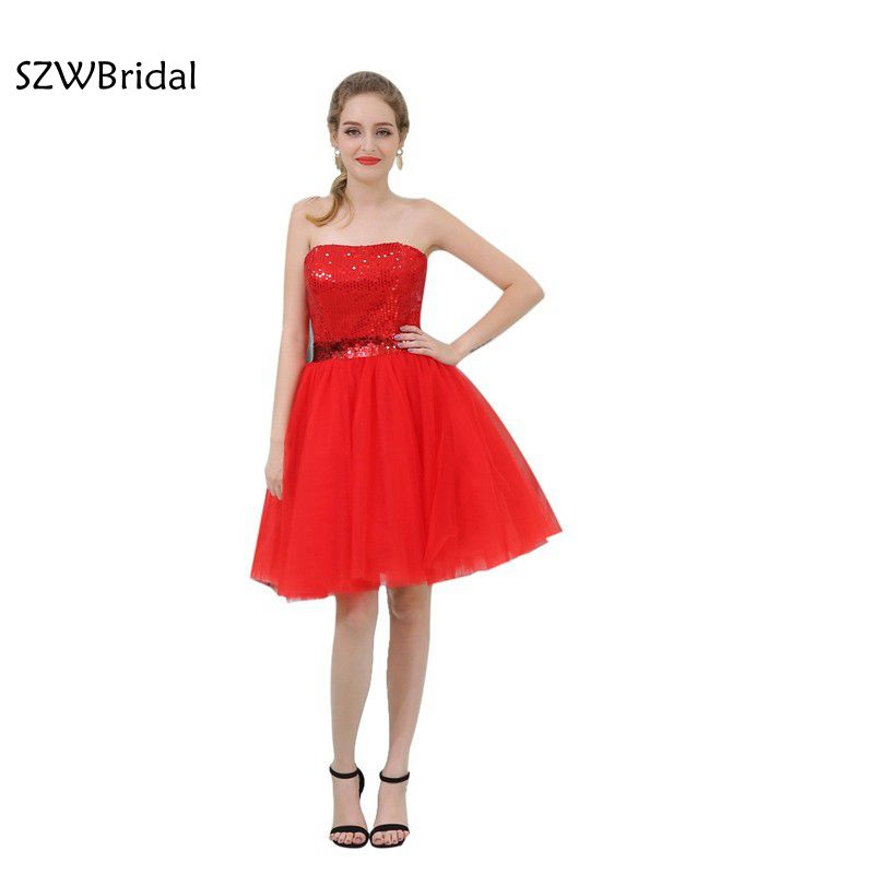 Fashion In Stock Off The Shoulder Short Cocktail Dresses Red Sequined Lace Coctail Dress 2019 Vestido De Festa Curto