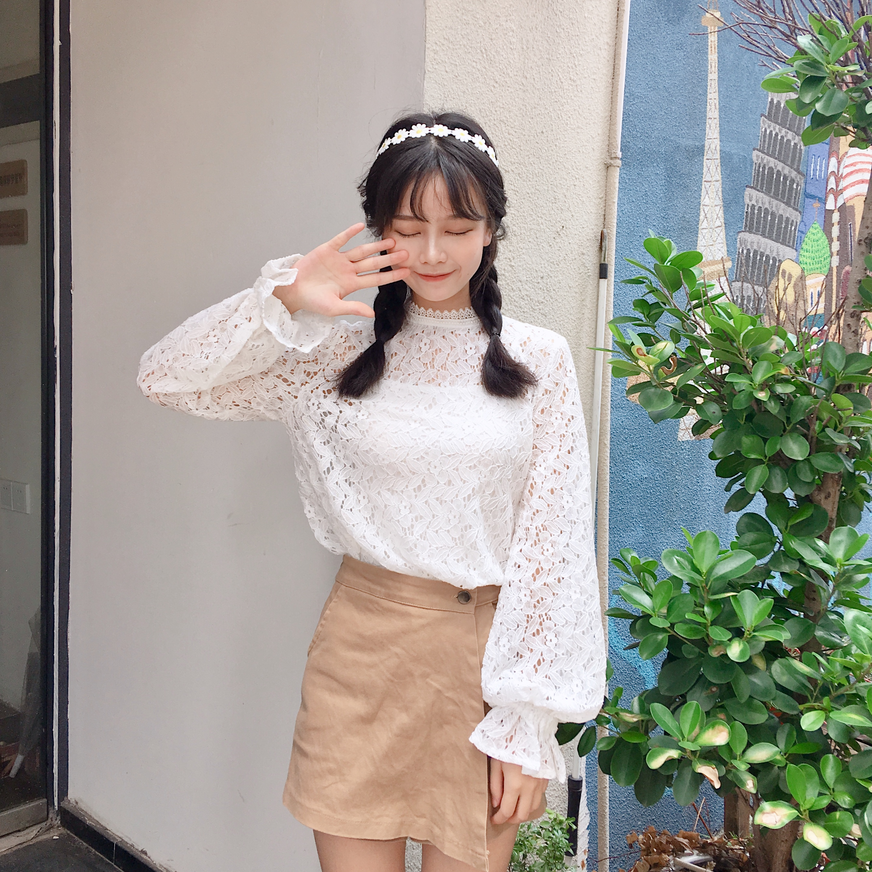 Women Lace Pullover Mori Girls Autumn Spring Japanese Style Fresh Sweet Long Flare Sleeve Stand Collar White Lace Hollow Blouse Wide Varieties Women's Clothing