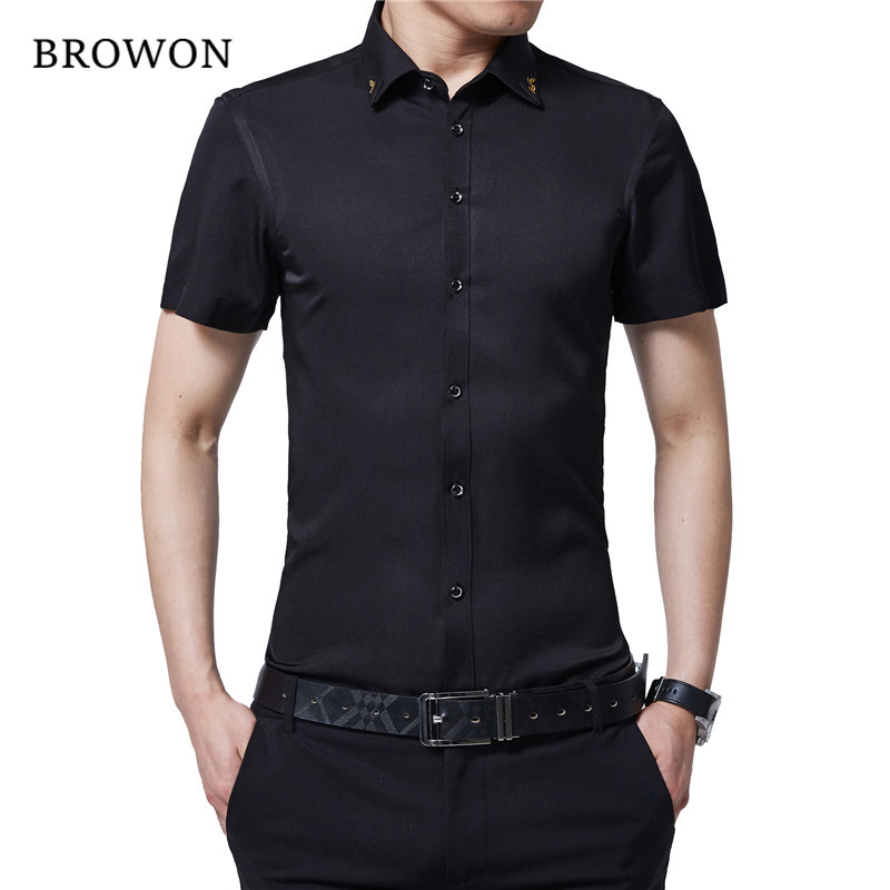 BROWON Marca New Summer Men Tuxedo Shirt Color sólido Turn Down Collar de manga corta Camisa de fiesta estilo delgado para hombres ropa