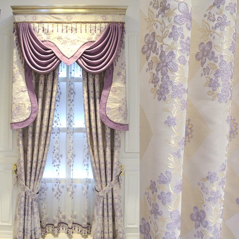 โมเดิร์น WARM สีม่วงผ้าม่านสำเร็จรูปผ้าม่านสไตล์ยุโรปสำหรับห้องนั่งเล่นห้องนอน Girls แรเงาผ้าม่าน Valance-ใน ผ้าม่าน จาก บ้านและสวน บน title=