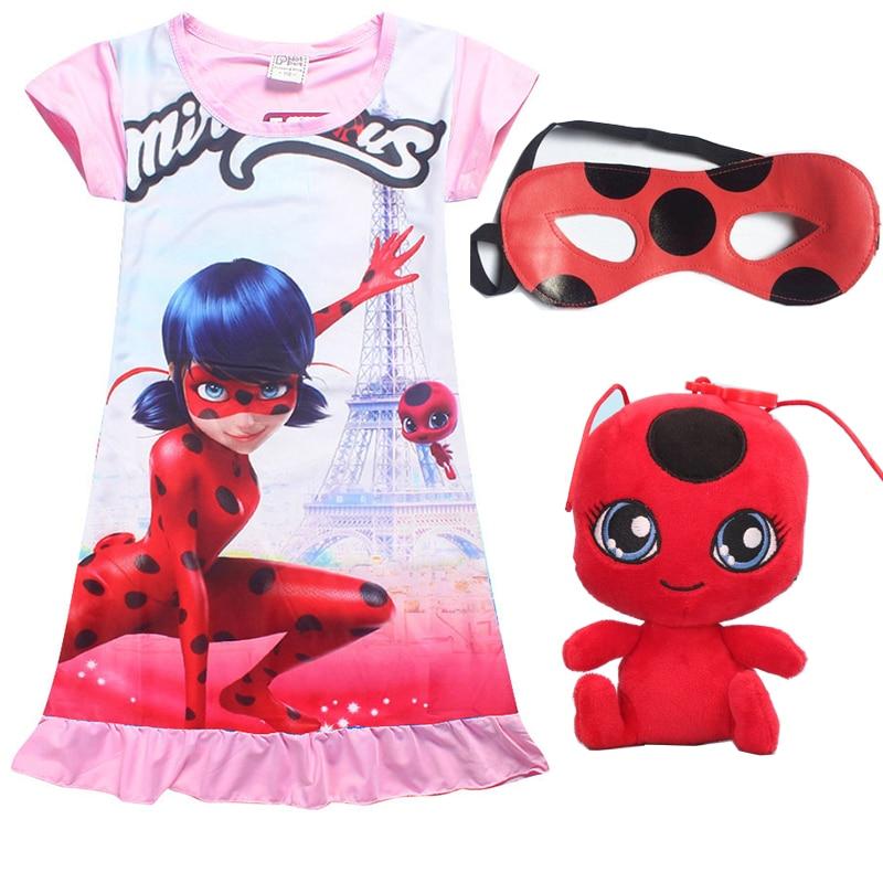 все цены на Lady Bug Moana vaiana Cartoon Clothes Kids Short Sleeve Dress gift Ladybug Dresses+toy +Eye Mask for Girls Summer Party Clothing