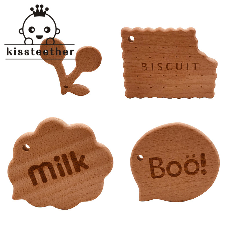Wooden Teether Rings Natural Wood Teething Toys For Infant,Wooden Teether Animals For Toddler,Baby Soothing Pain Relief Toys