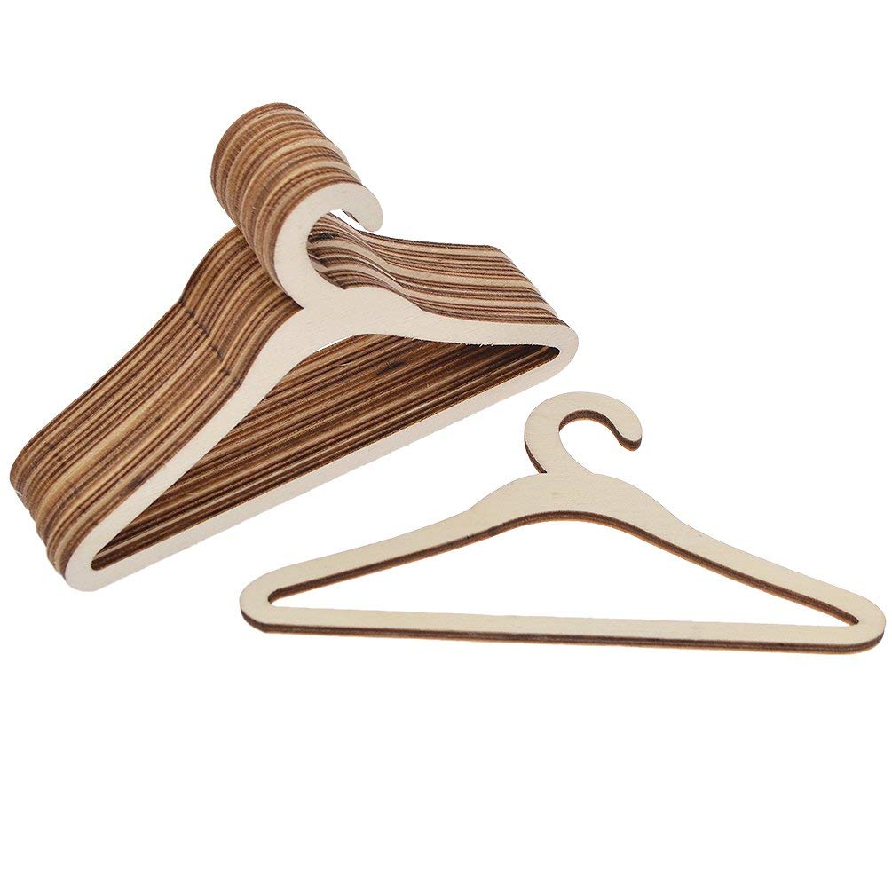 Us 439 10 Offlot 10 Pcs Wooden Cloths Hangers Coats Jackets For Dolls Wooden Hangers For American Doll 15 Cm 1 In Dolls Accessories From Toys