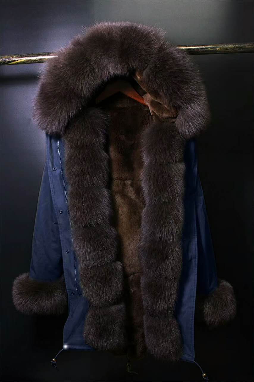 2017 winter new men's fashion fox fur collar BROWN rex rabbit  lining coat nick garment HOODIES middle long parka 2017 winter new clothes to overcome the coat of women in the long reed rabbit hair fur fur coat fox raccoon fur collar