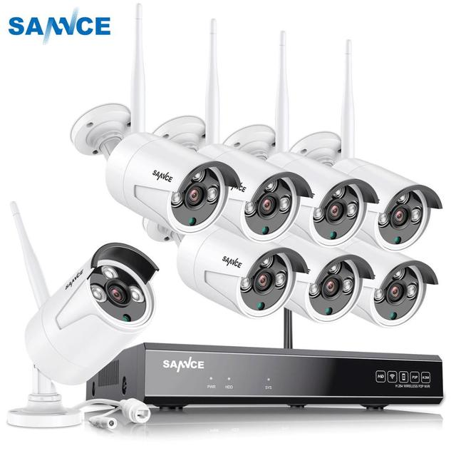 Беспроводная инфракрасная камера видеонаблюдения SANNCE, 8 каналов, 1080P, HD NVR, 6/8 шт., 2 МП, водонепроницаемая, Wi Fi