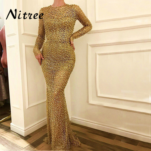 African Gold Muslim Mermaid Party Evening Dresses Turkish Arabic Aibye Sexy  Beading Pearls Formal Prom Gowns For Weddings Kaftan 426b2f58a276