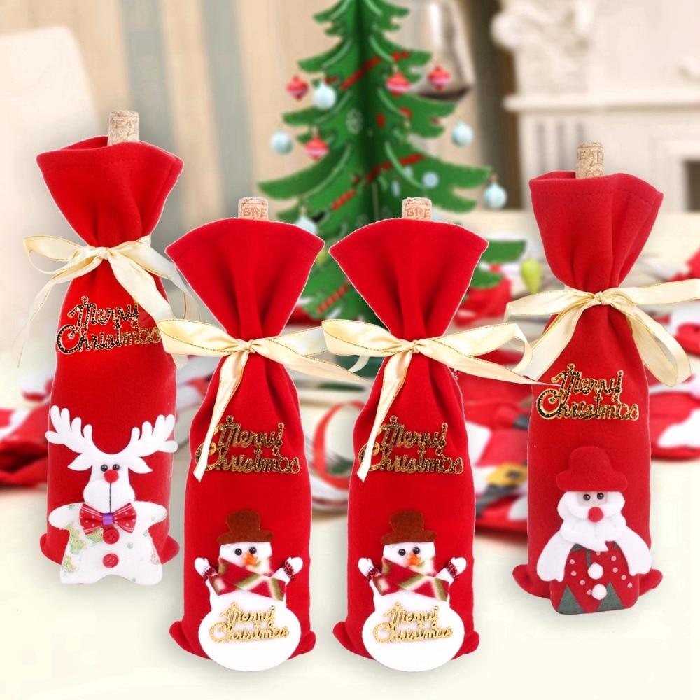 FENGRISE Santa Claus Wine Bottle Cover Snowman Christmas Table Decoration Navidad Ornaments Bottles Hold Covers
