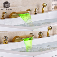 Deck Mounted Waterfall 5pcs Bath tub Faucet Mixers Widespread with LED Light Bathtub Faucet with Handshower
