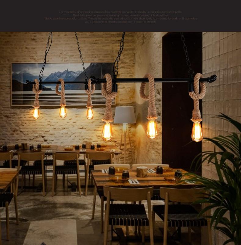 plumbing for restaurants and cafes - American retro restaurant wrought iron plumbing fixture nordic simple bar cafe hemp rope chandeliers