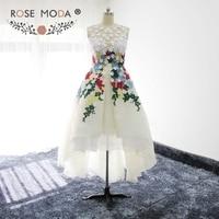 Rose Moda Multi Colored Laces High Low Graduation Dress Low V Back 3D Flowers Party Dress