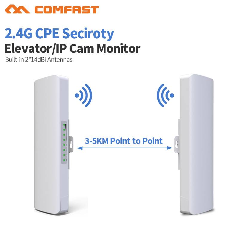 COMFAST CF-E314N 300Mbps 2.4Ghz outdoor high power wireless bridge cpe repeater for Point to point wifi transmission / receiver