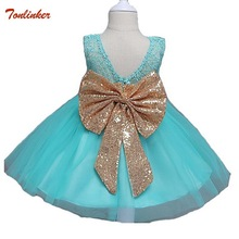 Tonlinker summer sleeveless toddler baby girls gold sequins bowknot floral princess dresses for formal birthday party wedding