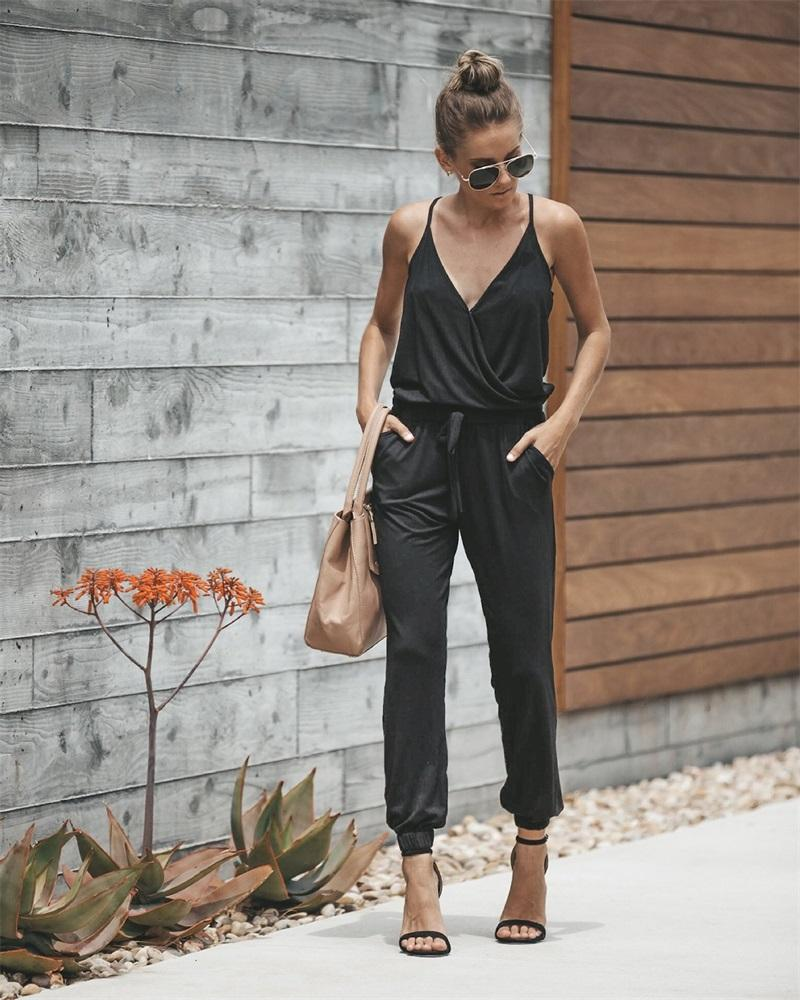 2018 Summer Woman Jumpsuit Sexy V-neck Strips Black Slim Fenale Jumpsuits Long Pants Loose Casual Fashion Lace Up Slim Jumpsuit