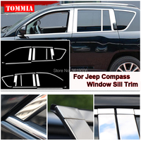 tommia For Jeep Compass 2011 2015 Stainless Steel Chrome Window Sill Belt Trim Windows Molding Trim Car Styling