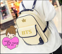 Kpop 2016 BTS Fashion Korea Backpack Imperial Crown Mark BTS Bronzing Logo PU Backpack Students Packets