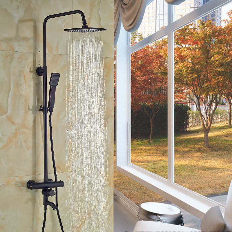 Oil Rubbed Bronze 8 Rain Shower Head Tub Spout Thermostatic Valve Hand Sprayer