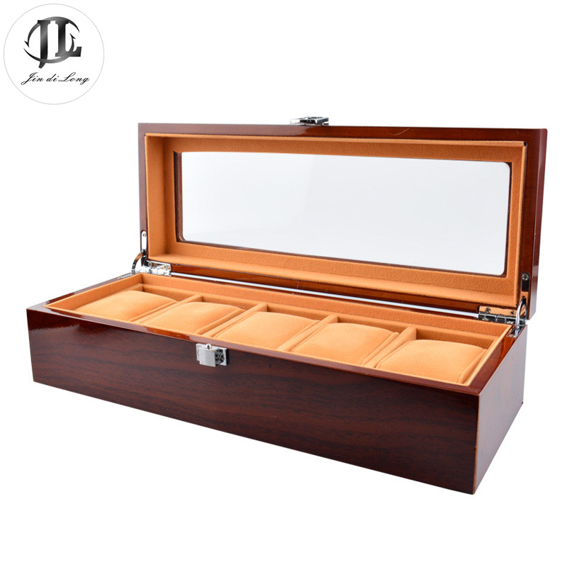 Hot Sale High Quality Solid Wood Rosewood font b Watch b font Display Case 5 Grids