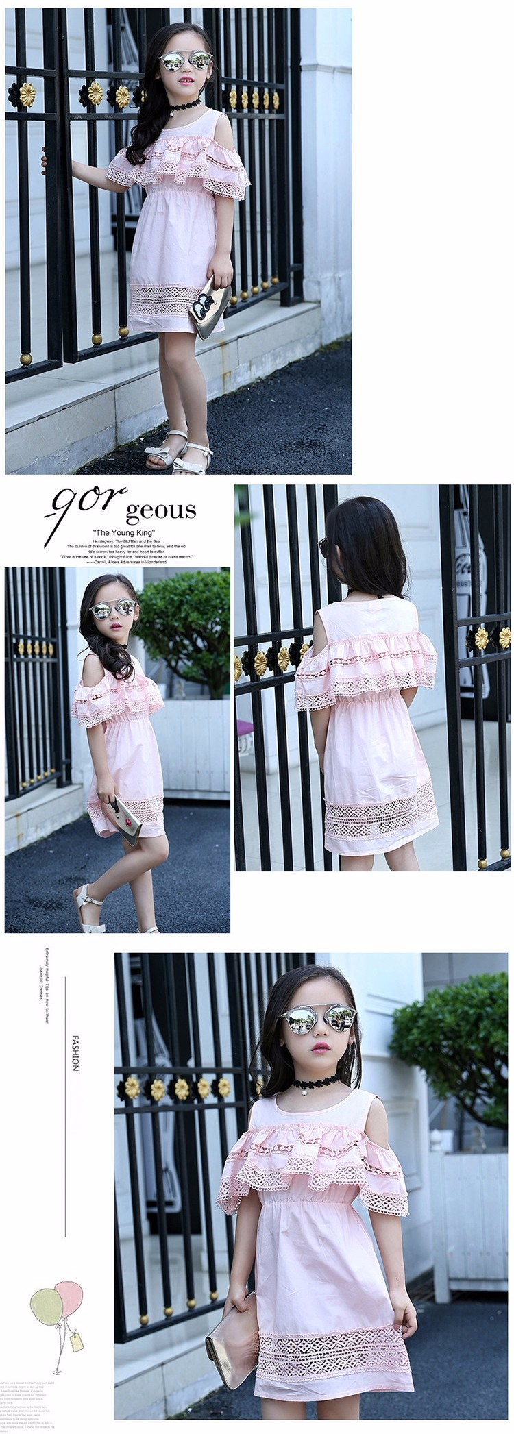 Kids Girls' Dress with Lace Summer 2018 New Kids Clothes for Girls Clothes Cotton Off Shoulder Dress White Pink Yellow Vestido 16