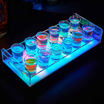 Free Ship 6/12-Bottle Shot Glass Tray Bullet Cup Holder colorful LED rechargeable light up Wine cups rack bars ice buckets - DISCOUNT ITEM  0% OFF All Category