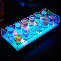 Free Ship 6/12 Bottle Shot Glass Tray Bullet Cup Holder colorful LED rechargeable light up Wine cups rack bars ice buckets