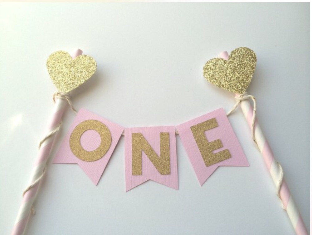Pink And Gold St Birthday Cake Decorations