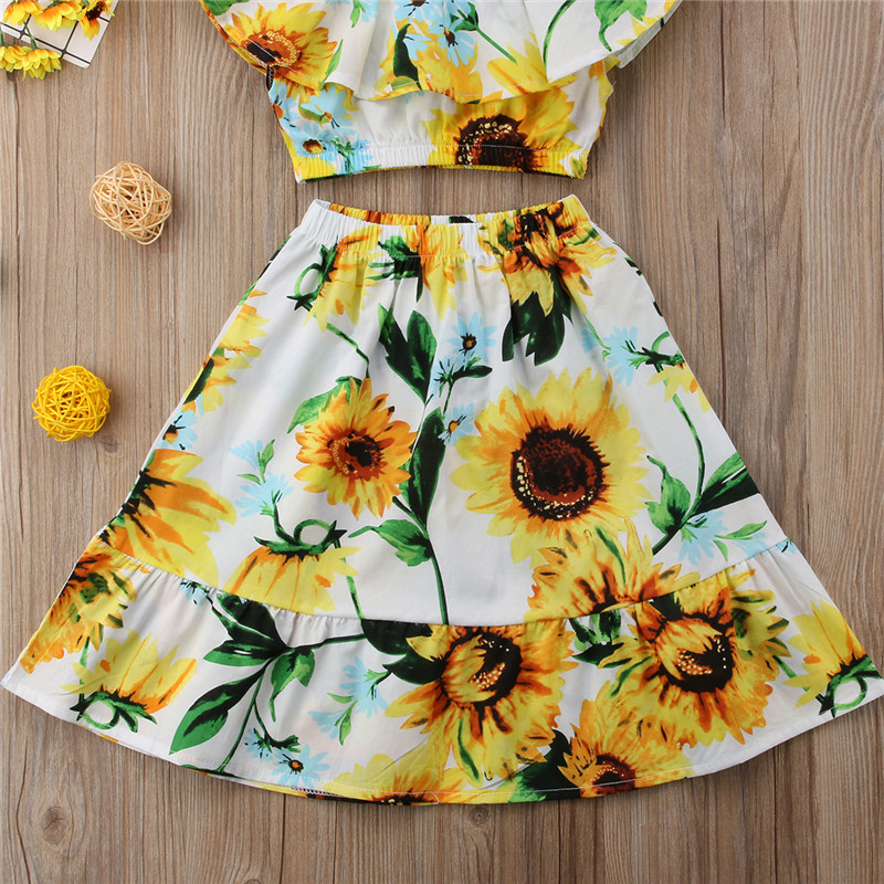d5678adb1d257 Toddler Kids Baby Girls Sunflower Clothes Set Summer Floral Off Shoulder  Crop Tops Skirt Casual Outfits Girl Clothing Cute 2 7T-in Clothing Sets  from Mother ...