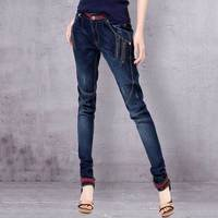 ARTKA Women Jeans With Embroidery Vintage Trousers Women 2018 Skinny Jeans Denim Pencil Pants Plus Size Elastic Jeans KN12621D