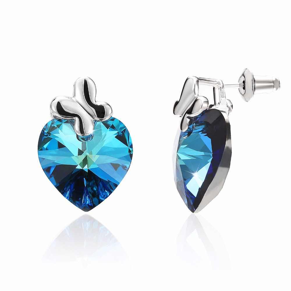 10d632238 ... Warme Farben Women's Earring Crystal from Swarovski Fashion Ear Jewelry  2019 Simple Blue Heart Stud Earrings ...