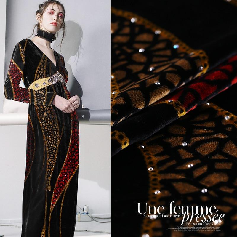 Forage à chaud impression velours tissu drapé soie velours tissu cheongsam or velours vêtements soie tissu en gros soie tissu-in Tissu from Maison & Animalerie    1
