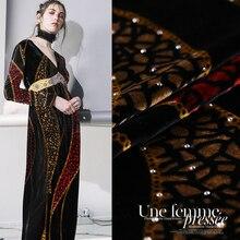 Hot drilling printing velvet fabric drape silk cheongsam gold clothing wholesale cloth