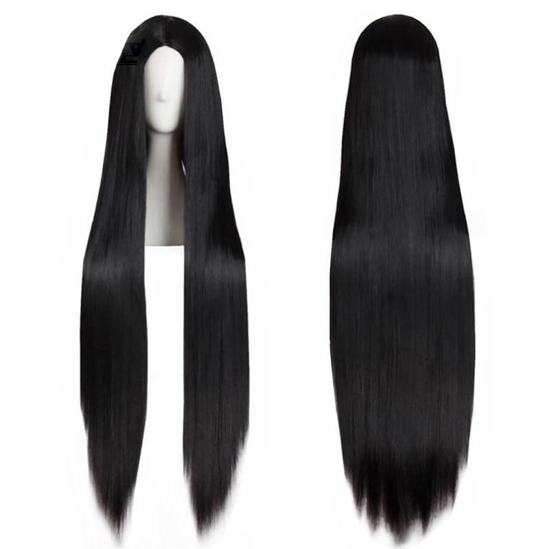 Hot Selling 32 Inches Black Long Straight High Temperature Fiber Peruca Natural Middle Part Synthetic Cosplay Wig