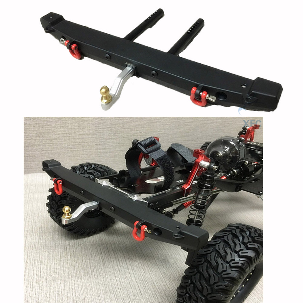 Metal Rear Bumper with Shackles For 1/10 RC Rock Crawler Car Axial SCX10 SCX10-ll TRAXXAS TRX4 TRX-4 Upgrade Part metal front bumper for 1 10 traxxas trx4 d110 rc crawler car part