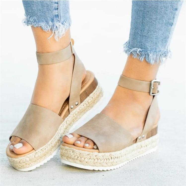 HTB10k8TN9zqK1RjSZFLq6An2XXa0 2019 Summer Womens Casual Espadrilles Trim Rubber Sole Flatform Studded Wedge Buckle Ankle Strap Open Toe Sandals