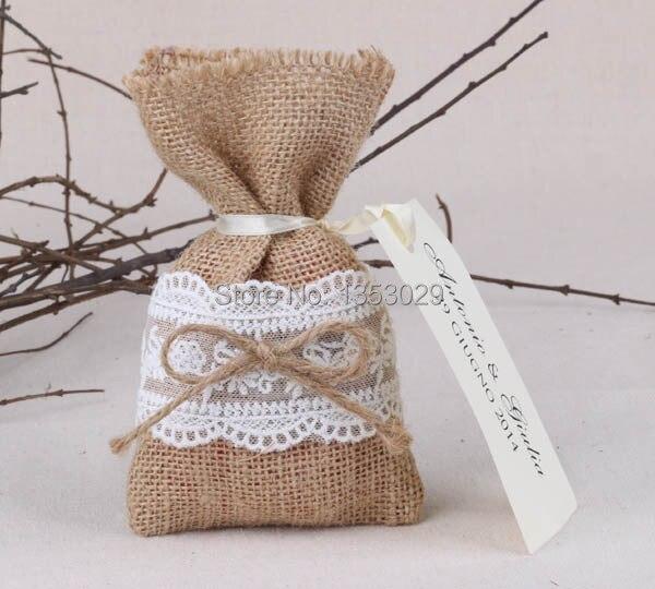 50pcs Lot Size 4 X6 5 Rustic Wedding Favor Bags Burlap Lace