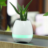 Waterproof LED Bluetooth Music Vase Speaker Real Plant Touch Sensing Flower Pot New Smart USB Charge