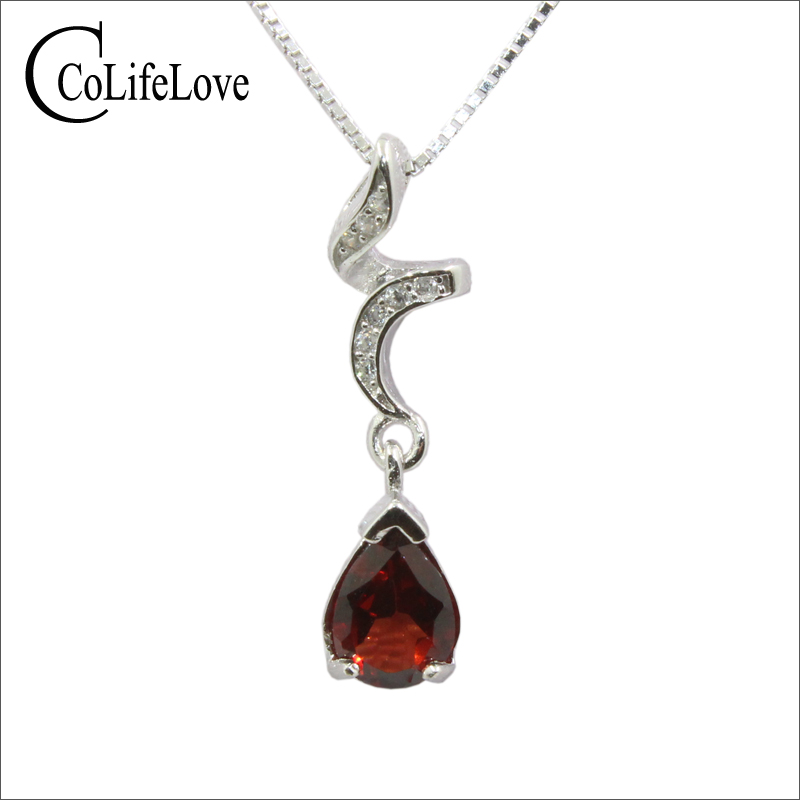 100% Real Garnet Pendant For Evening Party 6mm*8mm Natural Wine Red Garnet Pendant Solid 925 Sterling Silver Garnet Fine Jewelry