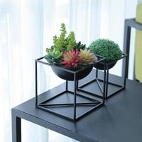 Black Ceramic Flower Planters with Iron Shelf Succulent Plant Pot Home Garden Decorative Flower Vase without plants