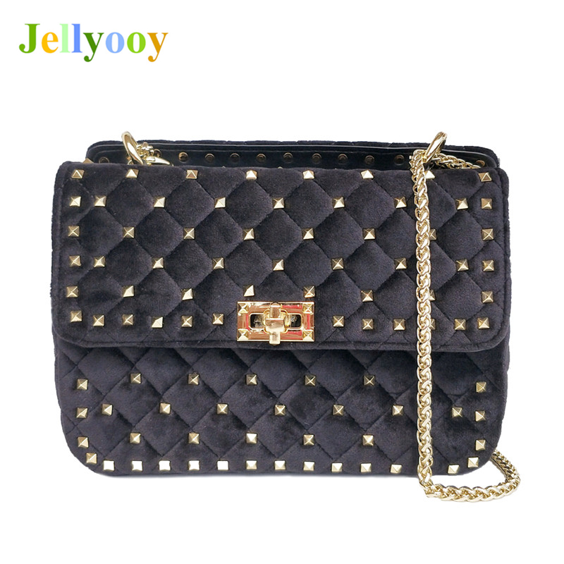 2018 Fashion Velvet Handbags Women Chain Shoulder Bag Messenger Bags Luxury Rivet Handbags Famous Brand Designer Tote Bags Louis 2017 luxury handbags black women bags designer women s bag rivet chain messenger shoulder bags female skull clutch famous brand
